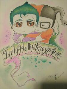joker & harley, love drawing prisma  colored