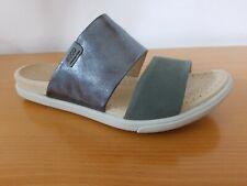 Ecco Damara 2-Strap Sandal Dark Silver Women's Leather Sandal - NEW - Size EU 39