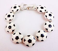 Soccer ball bracelet silver black white kick goal score sports magnetic clasp