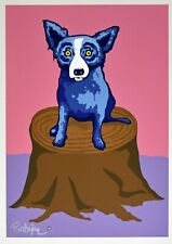 George Rodrigue Blue Dog Dog On A Stump Silkscreen Print Signed Numbered Artwork