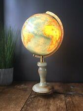 VINTAGE COLUMBUS DUPLEX ILLUMINATED DESK LIGHT LAMP WORLD MAP GLOBE MARBLE BASE