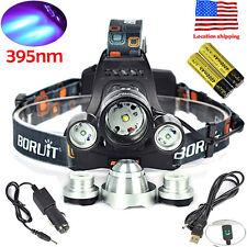 BORUiT 11000LM 3*XM-L T6+R5 395nm UV LED Headlamp Hunting HeadLight 18650 Charge