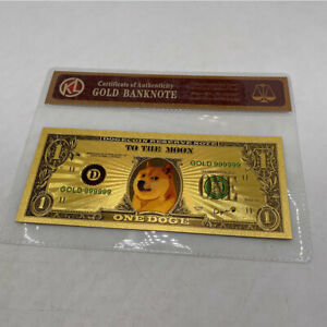 2 pc Beautiful Gold Dogecoin Gold Banknotes Dog Cards With COA Bag Souvenir card