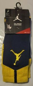 Nike Mens Air Jordan Dri-Fit Crew Socks Blue/Yellow 530977 410 Size 8-12