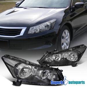 For 2008-2012 Honda Accord Sedan 4Dr Diamond Headlights Head Signal Lamps Black