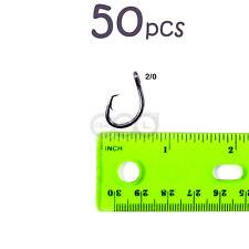 50pcs Size 2/0 Fishing 4x Strong circle hook offset black nickel Bulk Pack @US