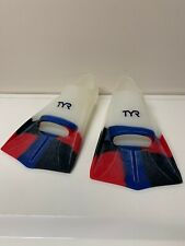 TYR Flippers Short Fins Red Black Blue Clear RARE Size 10-11 USA 270-275(mm)