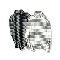 Men Long Sleeve Tops Striped High Neck Pullover Casual Basic Tee Winter T-shirt