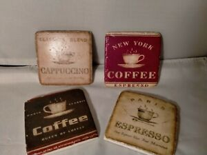 """Coasters with """"Coffee"""" Designs – 4 pcs. Set – Ceramic and Cork"""