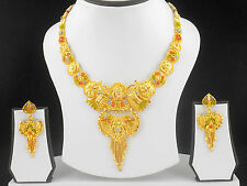 UK Indian Bollywood Jewelry Fashion Gold Plated Wedding Necklace Earring Set A14