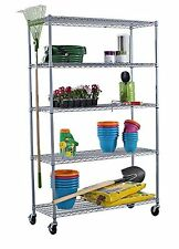 """Trinity 5-tier Outdoor Wire Shelving Rack W Wheels 48x18x77"""" Inch NSF Commercial"""