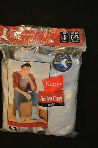 Hanes Men's 5 Pair ACTIVE CREW GREY  Socks Size 6-12