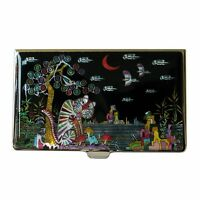 Mother of Pearl Tiger Bird Business Credit Name Slim ID Card Case Holder Wallet