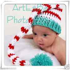 CROCHET  BABY 0 - 6 MONTHS STRIPED LONG TAIL ELF HAT ~ LONGTAIL HAT PHOTO PROP