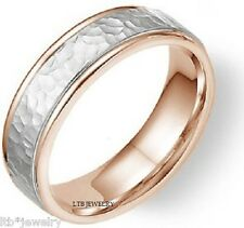 MENS HAMMERED 18K TWO TONE SOLID GOLD WEDDING BANDS RINGS 6MM