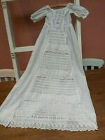 ANTIQUE CHRISTENING GOWN DRESS EMBROIDERY COTTON BABY/DOLL VINTAGE ORIGINAL VICT