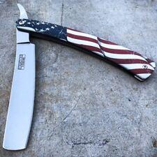 Shaving Straight Edge USA AMERICAN FLAG Razor Steel Folding Pocket Knife Blade
