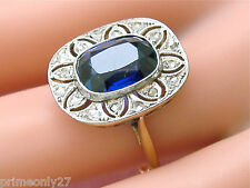 ANTIQUE ART DECO .16ctw ROSE DIAMOND 3.80ct CUSHION SAPPHIRE COCKTAIL RING 1930