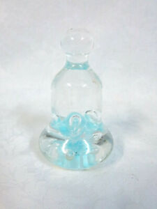 """Joe Rice Glass Bell Shaped Periwinkle Blue Flowers Paperweight 4.5"""""""
