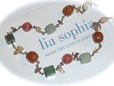 "LIA SOPHIA ""BELLINI"" 1-STRAND NECKLACE - JADE/QUARTZ/CITRINE - RARE/2005/$68"