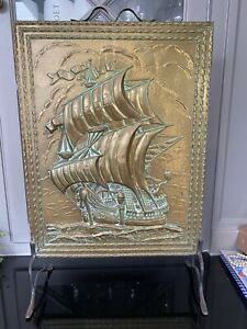 Vintage Brass Fire guard- Ship Design Very Good Condition