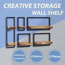 5 Pieces Solid Acacia Wood Wall Shelf Set Steel Floating Display Rack AA