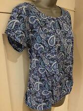 Blue Paisley Print 70's Style Short Sleeve Top - UK Size 12