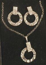 parure bijou neuf boite pendentif cercle martelé cristal boucles assorties
