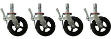 "A set of 4 Scaffolding 8"" Rubber Caster Wheels Double Locking Brake CBM Scaffold"