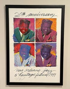 Jazz Fest 1989 Poster Fats Domino by Richard Thomas Double Signed Remarque #312