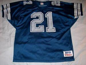 Deion Sanders 21 Dallas Cowboys Blue NFL Wilson Vintage Jersey Mens XL used