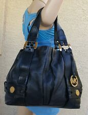 MICHAEL KORS Harness Pebbled Leather Grab Bag Purse Black $398 shoulder bag tote