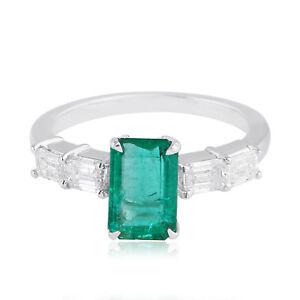 2.60 TCW Emerald Gemstone Ring 18k White Gold SI/Hi Baguette Diamond Jewelry NEW