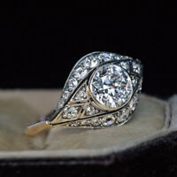 2.6Ct Round Cut Diamond Vintage Antique Engagement Art Deco Ring 14k Yellow Gold