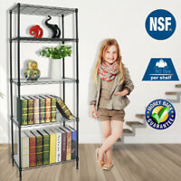 5 Tier Heavy Duty Wire Shelving Rack Adjustable Metal with Shelf Liners 2 Colors
