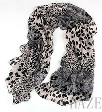 New Lady Fashion Long Wrap Shawl Leopard Chiffon Scarf Scarves