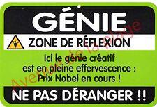 """Plaque de porte humoristique Zone de Danger """"Génie"""" idée cadeau NEUF"""