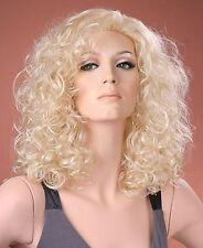 Ladies Wig Long Bouncy Curls Light Blonde Curly Perm Fashion Wig Full Wig UK