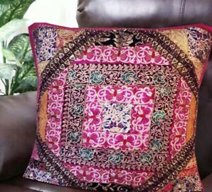"30"" PINK ANTIQUE SARI BEAD DÉCOR MOTI HOME ACCENT FLOOR CUSHION PILLOW COVER"