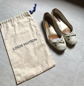 Louis Vuitton Flats Shoes Ballerinas Size EU 38,5/ 39 US 7,5/ 8 Ivory  Leather