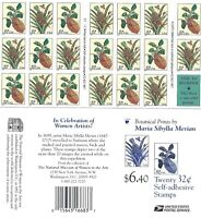 SCOTT 3126-27 32 CENT MERIAN BOTANICAL PRINTS CONVERTIBLE PANE OF 20 MNH