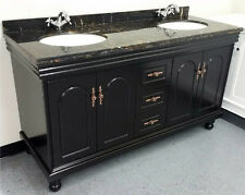 "New 60"" Marble Top Bathroom Double Vanity Cabinet w/ Sinks + Faucets Included"