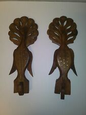 Wood Carved Bird Wall Hooks Pair Inlayed with Gold wings move with hook wooden