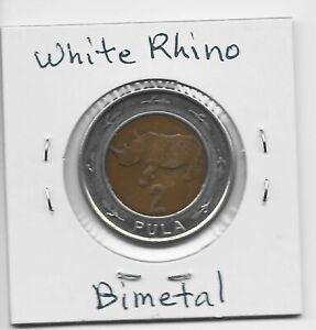Bimetal Botswana 2 Pula 2013 K36 2 Zebras & White Rhino Animals, Free Shipping.