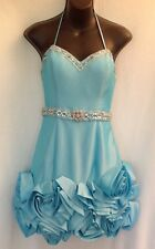 TERANI Blue Cocktail Evening Occasion Dress Sz 6 Beaded 3D Roses Sculptural Hem