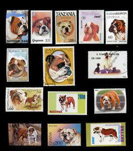 BULLDOG ENGLISH BRITISH DOG POSTAGE STAMP INTERNATIONAL COLLECTION X 14 PostFree