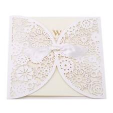 25pcs Laser Cut Wedding Invitations with Lace and Hollow Parttern Wedding 6L