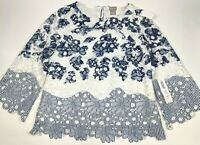 Chico's Blue White Color Lace embroidered 3/4 Top Blouse.Boat neck Women Size XS