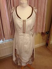 Ladies Dress Designer Maggio New Tags Italian White Brown Cotton Linen 44 14/16