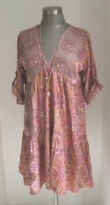 TUNIKA KLEID PAISLEY ETHNO ALTROSA AUS REINER SEIDE SOMMERKLEID SILK DRESS 36-40